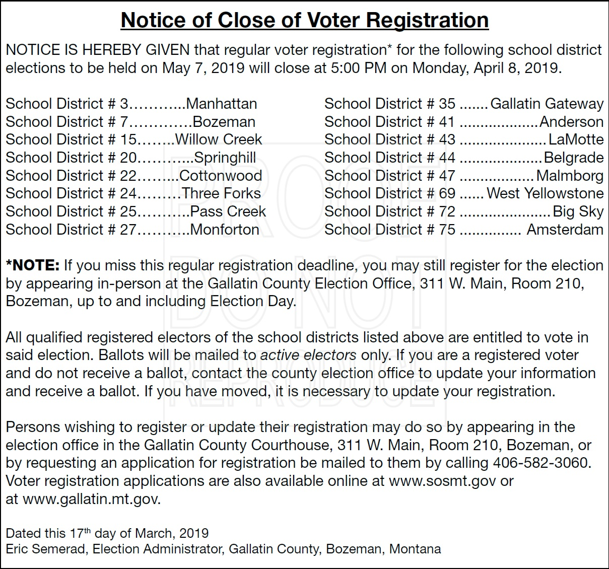 Voter Registration Notice